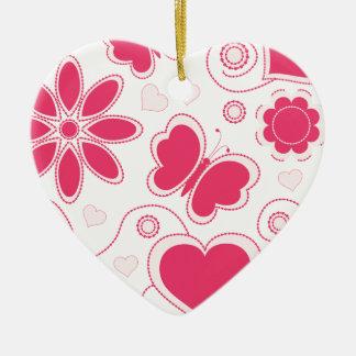 Colección de los corazones y de las flores de Emma Adorno Navideño De Cerámica En Forma De Corazón