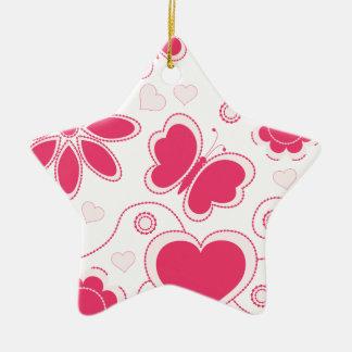 Colección de los corazones y de las flores de Emma Adorno Navideño De Cerámica En Forma De Estrella