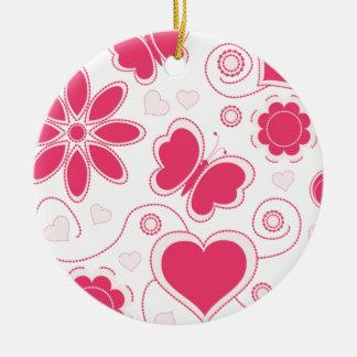 Colección de los corazones y de las flores de Emma Adorno Navideño Redondo De Cerámica