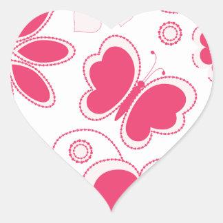 Colección de los corazones y de las flores de Emma Pegatina En Forma De Corazón