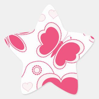 Colección de los corazones y de las flores de Emma Pegatina En Forma De Estrella