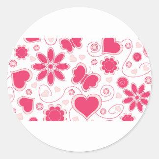 Colección de los corazones y de las flores de Emma Pegatina Redonda