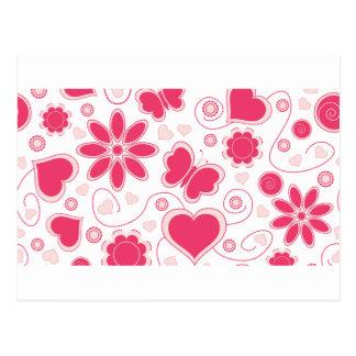 Colección de los corazones y de las flores de Emma Postal