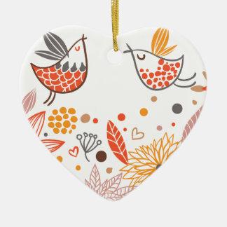 Colección de los Lovebirds de Emma Janeway Adorno Navideño De Cerámica En Forma De Corazón
