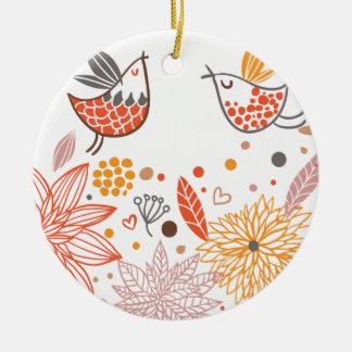 Colección de los Lovebirds de Emma Janeway Adorno Navideño Redondo De Cerámica