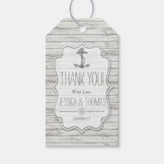 Colección de madera blanqueada náutica del boda de etiquetas para regalos