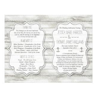 Colección de madera blanqueada náutica del boda de folleto 21,6 x 28 cm