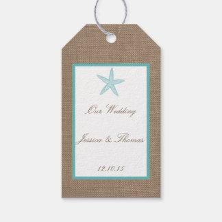 Colección del boda de playa de la arpillera de las etiquetas para regalos