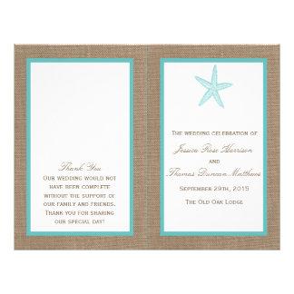 Colección del boda de playa de la arpillera de las folleto 21,6 x 28 cm