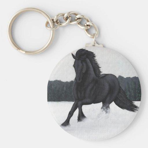 Colección del caballo de la nieve llaveros personalizados