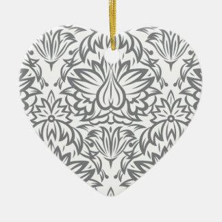 Colección del damasco del vintage de Emma Janeway Adorno Navideño De Cerámica En Forma De Corazón