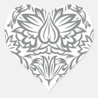 Colección del damasco del vintage de Emma Janeway Pegatina En Forma De Corazón