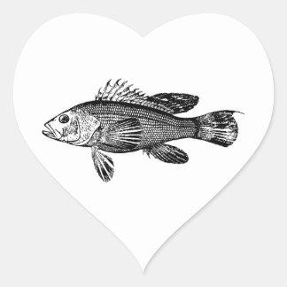 Colección del mar del pescador de los pescados pegatina en forma de corazón