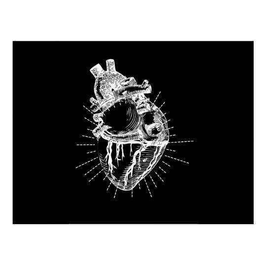 Colección negra y blanca del corazón anatómico postal