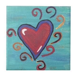 Colección roja de los corazones azulejo cuadrado pequeño