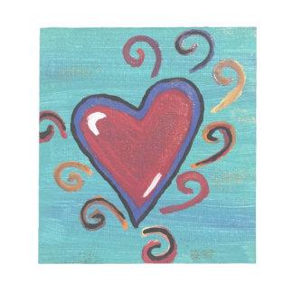 Colección roja de los corazones bloc de notas