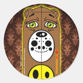 Colección sonriente de los pegatinas del oso de la pegatina redonda