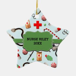 Coleccionable personalizado de la enfermera adorno navideño de cerámica en forma de estrella
