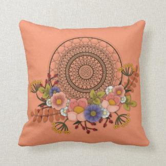 Colector ideal bohemio floral anaranjado cojín decorativo