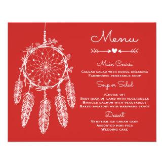 Colector ideal tribal rojo del menú del boda de folleto 11,4 x 14,2 cm