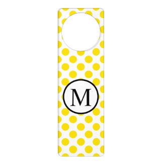Colgador Para Puerta Monograma simple con los lunares amarillos