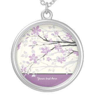 Colgante de plata de las flores púrpuras de la