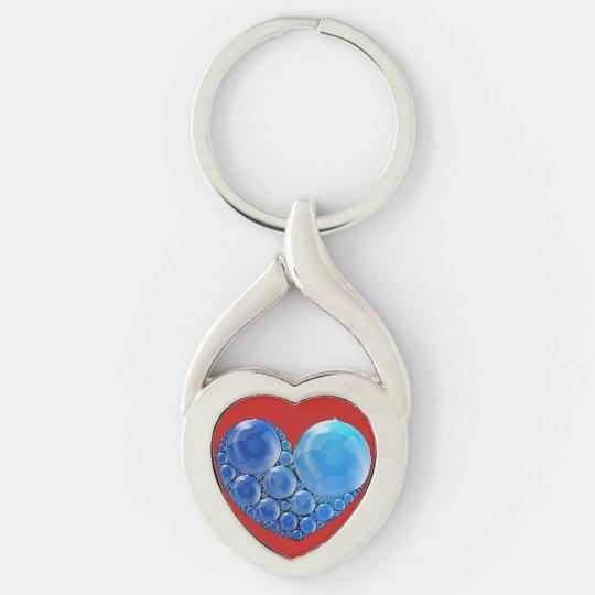 Colgante del corazón de la burbuja llavero plateado en forma de corazón