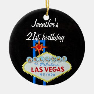 Colgante del cumpleaños 21 de Las Vegas Adorno Redondo De Cerámica