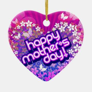 colgante dia de la madre adorno navideño de cerámica en forma de corazón