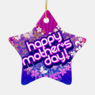 colgante dia de la madre adorno navideño de cerámica en forma de estrella
