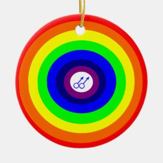 Colgante redondo del arco iris de los hombres gay adorno navideño redondo de cerámica