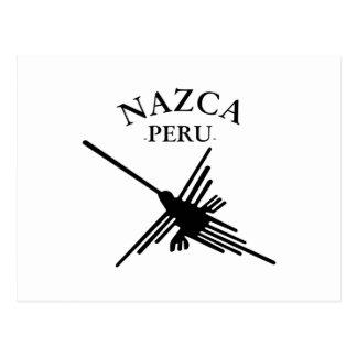 Colibrí de Nazca Perú con el texto curvado Postal