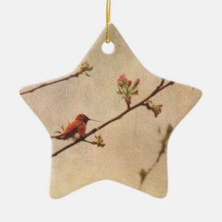 Colibrí en cerezo floreciente ornamento de navidad