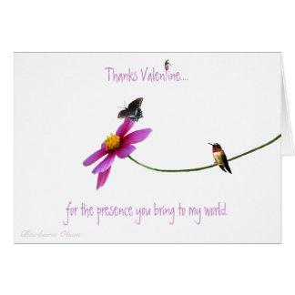Colibrí: Gracias por su tarjeta del día de San