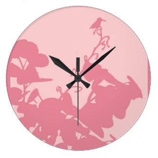 COLIBRÍ ROSADO (grande) redondo Reloj Redondo Grande