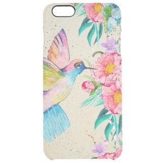 Colibrí y flores caprichosos de la acuarela funda transparente para iPhone 6 plus