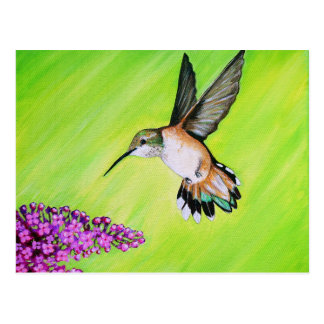 Colibrí y lila postal