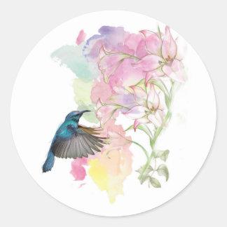 Colibrí y Lillies de la acuarela Pegatina Redonda