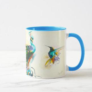 """Colibrí y pavo real de la """"conversación colorida"""" taza"""