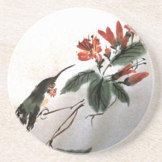 Colibrí y práctico de costa de las flores posavasos manualidades