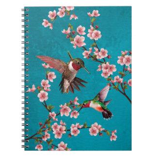Colibríes y flores de cerezo del estilo del cuaderno