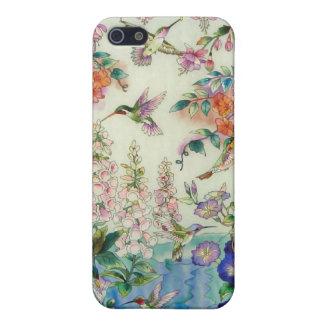 Colibríes y paisaje de las flores iPhone 5 cárcasa