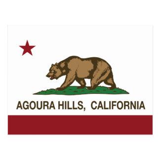 Colinas de Agoura de la bandera del estado de Cali Tarjetas Postales