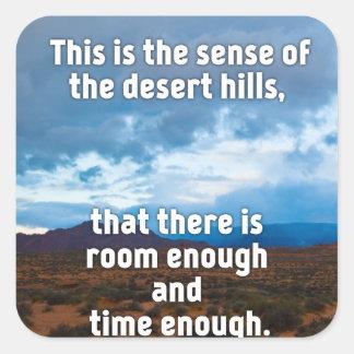 Colinas del desierto pegatina cuadrada