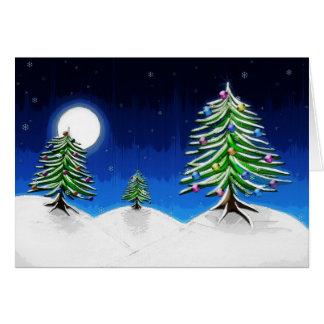 colinas del invierno con los árboles de pino adorn tarjeta de felicitación