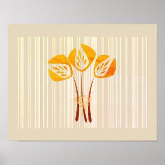 Collage anaranjado abstracto de los tulipanes póster