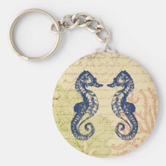 Collage azul de los caballos de mar llavero redondo tipo chapa