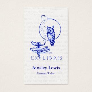 Collage azul personalizado del búho del vintage tarjeta de negocios