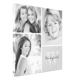 Collage blanco y negro de la foto del monograma de impresión en lienzo