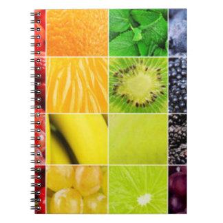 Collage colorido multi de la fruta cuaderno